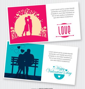 2 Valentine's postcards - vector gratuit #345797