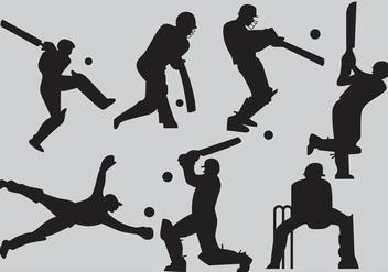 Cricket Player Silhouette Vectors - Kostenloses vector #345977