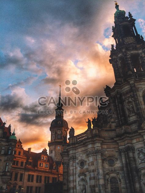 Hofkirche Cathedral in Dresden at dusk, Germany - бесплатный image #346567