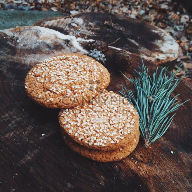 Cookies with sesame on wooden stump - Free image #347177
