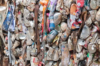Aluminium cans pressed and plastic bottle to packed for recycling - Free image #347317