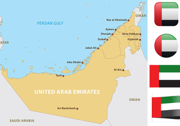 United Arab Emirates Map - vector #347617 gratis