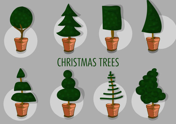 Free Set of Different Christmas Tree Vectors - Free vector #347657