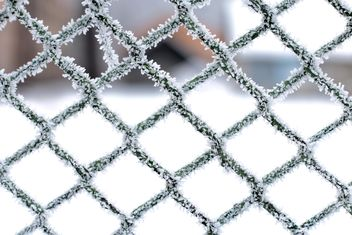 Frozen snow on metal fence - image gratuit #347717