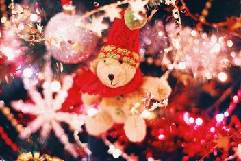 Christmas decorations on Christmas tree closeup - бесплатный image #347797