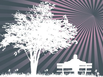 Park Silhouette Sunburst Background - Free vector #347837