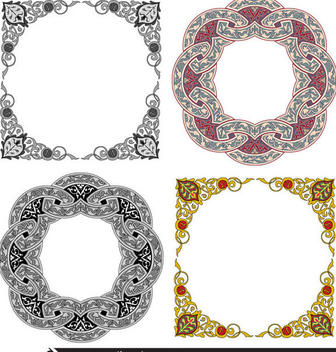 Ornament Frame Decoration Set - Free vector #347887