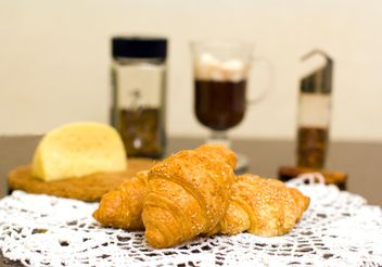 Croissants, cheese and coffee for breakfast - бесплатный image #347937