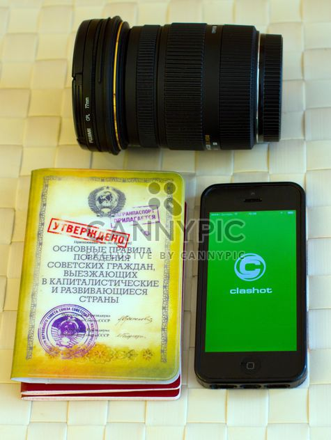 Camera lens, smartphone and books - Free image #348017