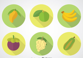 Fruits Long Shadow Icons Sets - Free vector #348247