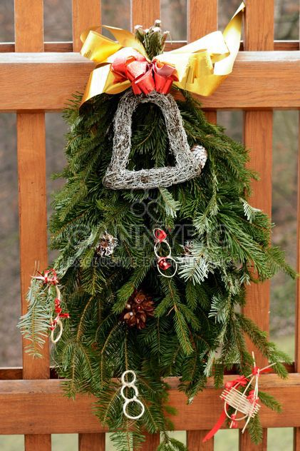 Christmas decoration on wooden fence - Free image #348437