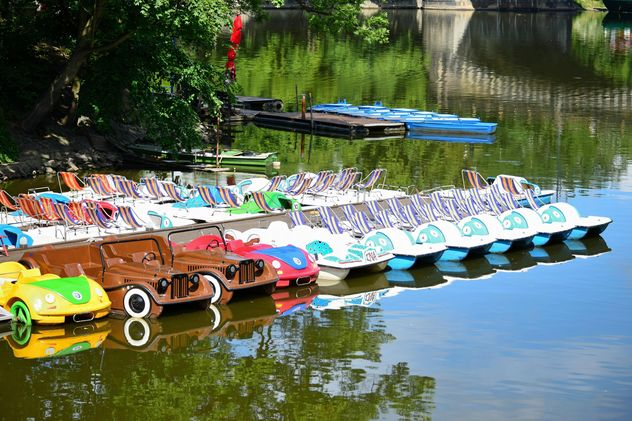 Catamarans in shape of cars on lake - Free image #348597
