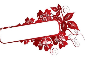 Red Flower Swirls Frame - vector gratuit #349437