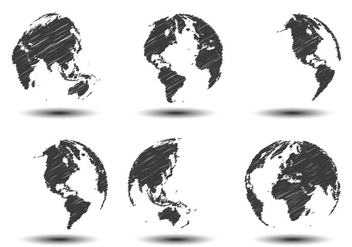 Sketch World Map Vectors - vector gratuit #349507