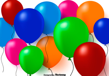 Colorful 3D Balloons Vector Background - Free vector #349717