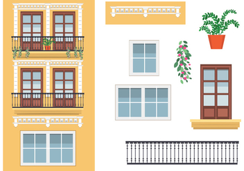 Yellow Building in Spain Vector - vector #349867 gratis