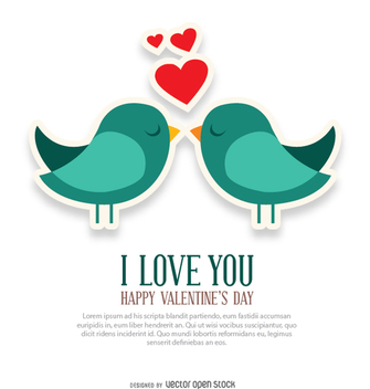 I love you and birds card - vector gratuit #349907