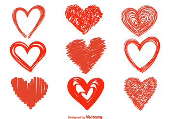 Hand Drawn Heart Vector Icons - Free vector #350137