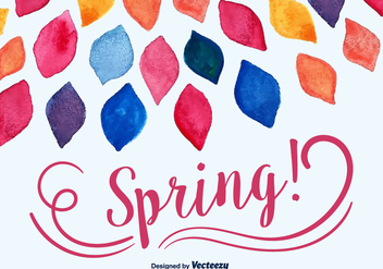 Watercolored Spring Leaves Vector Background - vector gratuit(e) #350437