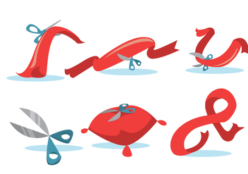 Ribbon Cutting Vector Set - Free vector #350527
