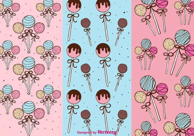 Cake Pops Patterns Vector - Free vector #350647
