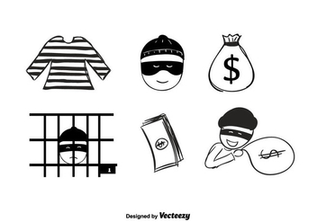 Hand Drawn Robber Vector - Free vector #350737