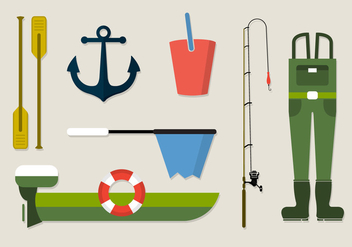 Vector Collection of Fishing Clothing Equipment - Free vector #350867