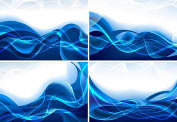 Creative Blue Waves Background Set - vector gratuit #351167