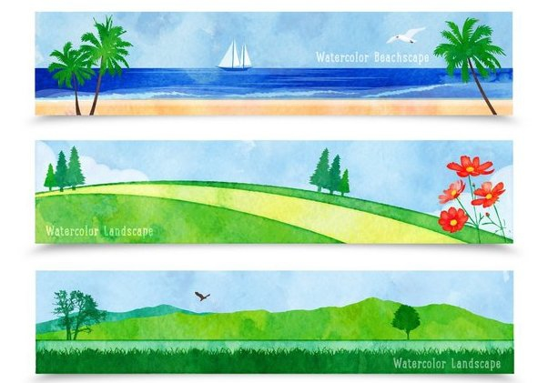 Watercolor Landscape Cartoon Banners - Free vector #351527