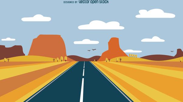 Road desert landscape - Free vector #351647