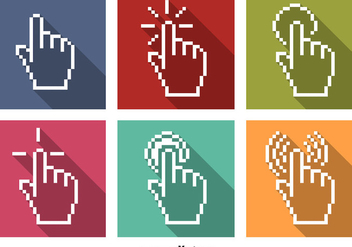 Vector Pixel Mouse Click Icons with Hand - Kostenloses vector #351777