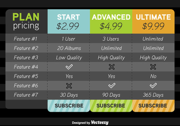 Pricing Table Vector Mockup - vector gratuit #352067