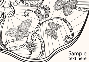 Adult Coloring Papillon Vector - Free vector #352397