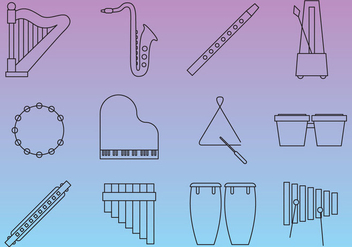 Thin Line Music Instruments - Free vector #352717