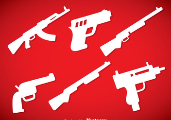 Guns Silhouette Icons Vector - Free vector #353377