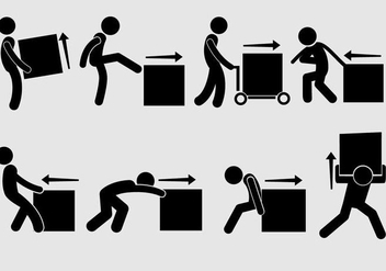Man Pushing Icon Vectors - Free vector #353697