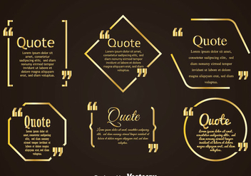 Golden Quotation Mark Bubble Vertors Sets - Free vector #353987