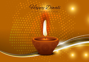 Diwali Oil Lamp With Glowing Background - Free vector #354357