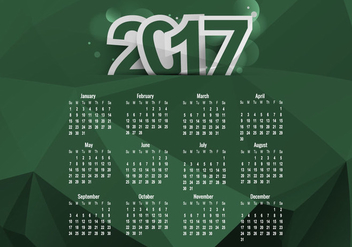 Calendar Of 2017 With Months And Dates - vector #354517 gratis