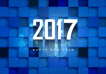 2017 Happy New Year On Blue Cubic Background - Free vector #354547