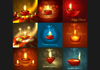Colorful Designed Card For Diwali Festival - vector gratuit #354587