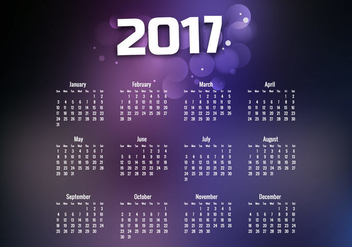 Year 2017 Calendar With Purple Design - Kostenloses vector #354617