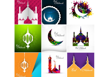 Beautiful Design Mosque With Eid Mubarak - Kostenloses vector #354717