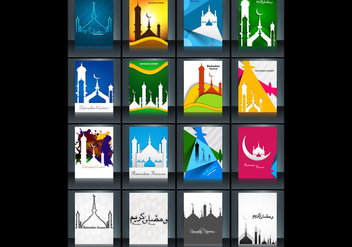 Collection Of Ramadan Kareem Card With Mosque - vector gratuit #354817