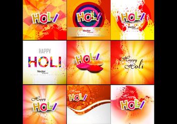 Set Of Happy Holi Card - Free vector #354947