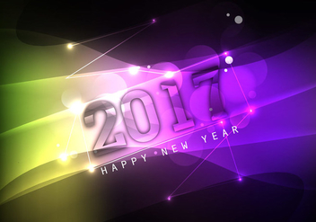 Shiny Colorful Happy New Year 2017 - vector #355057 gratis