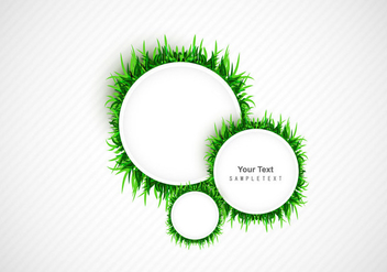 Frame With Green Grass Circle - vector gratuit(e) #355077