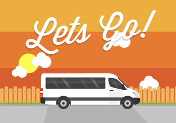 Let's Go! Minibus Vector - Free vector #355157
