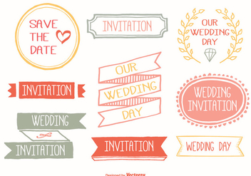 Cute Hand Drawn Wedding Label Set - vector gratuit #355447