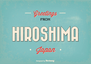 Retro Hiroshima Japan Greeting Illustration - Kostenloses vector #355887